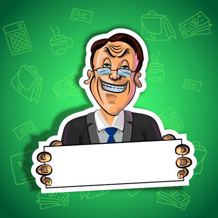 office accessories: Vector illustration of smiling businessman holding blank poster in his hands. Gradient background with the office accessories.  Made in comic cartoon style.