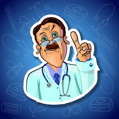 medical attention: Vector image of serious doctor holding his index finger up - sign of attention. Gradient background with the images of medical tools. Made in comic cartoon style. Stock Photo