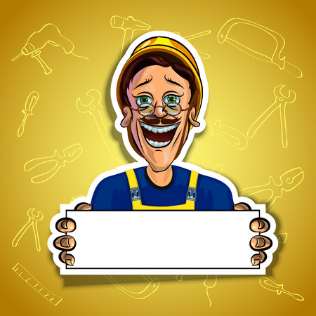 workman: Vector illustration of cheerful workman holding blank poster in his hands. Gradient background with the images of different tools. Made in comic cartoon style.