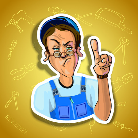 workman: Vector image of serious workman holding his index finger up - sign of attention. Gradient background with the images of different tools. Made in comic cartoon style.