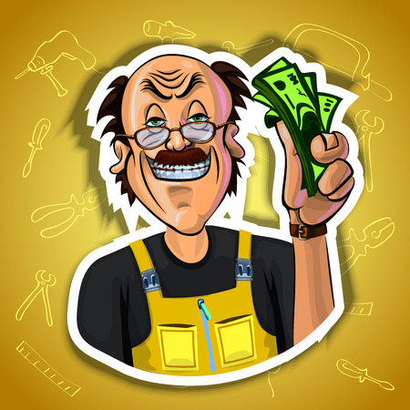 laboring: Vector illustration of smiling workman holding money in his hand. Gradient background with the images of different tools. Made in comic cartoon style.