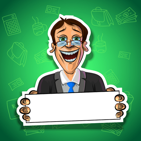 office accessories: Vector illustration of laughing businessman holding blank poster in his hands. Gradient background with the office accessories.  Made in comic cartoon style.