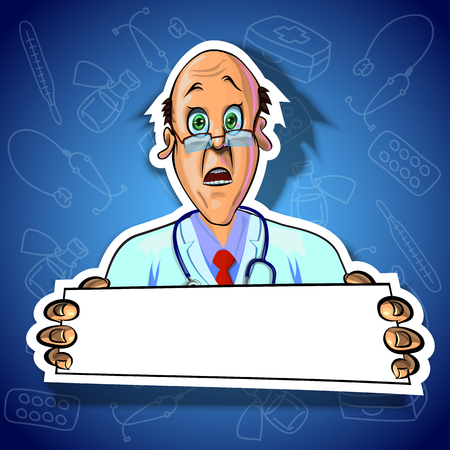 astonished: Vector illustration of astonished doctor holding blank poster in his hands. Gradient background with the images of medical tools. Made in comic cartoon style. Stock Photo