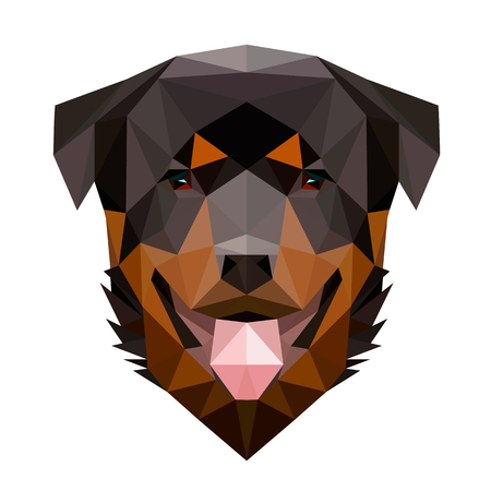 Symmetrical vector illustration of rottweiler dog. Made in low poly triangular style.