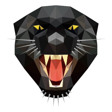 Symmetrical vector illustration of angry panther. Made in low poly triangular style. Vector Illustration