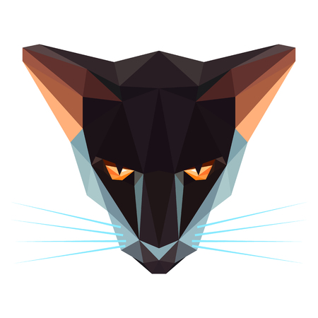 Symmetrical vector illustration of black cat. Made in low poly triangular style.