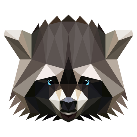 racoon: Symmetrical vector illustration of a racoon. Made in low poly triangular style.