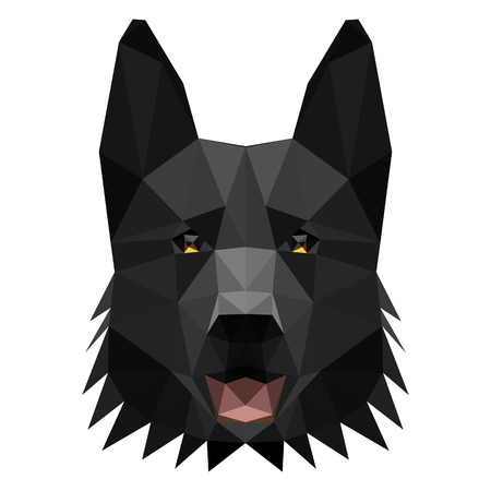 Symmetrical vector illustration of shepherd dog. Made in low poly triangular style.