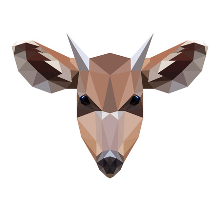 roe: Vector symmetrical illustration of a roe deer on a white background. Made in low poly triangular style.