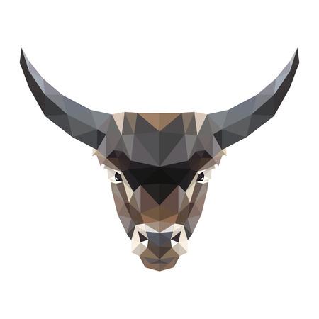 動物: 在白色背景上一個牛市的矢量插圖對稱。在製造低聚三角形的風格。