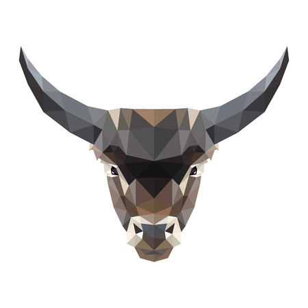 Vector symmetrical illustration of a bull on a white background. Made in low poly triangular style. Ilustração