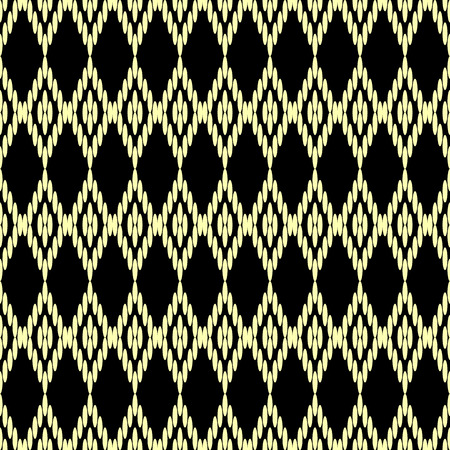 Seamless geometrical ethnic  pattern on black background. Aztec motives.