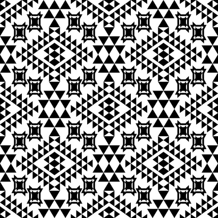 Seamless geometrical ethnic pattern. Tribal aztec motives.  Black and white.