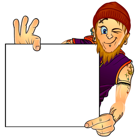 masters of rock: Vector illustration of a bearded male tattoo master holding blank poster in his hands. Mock up. Made in comic cartoon style.