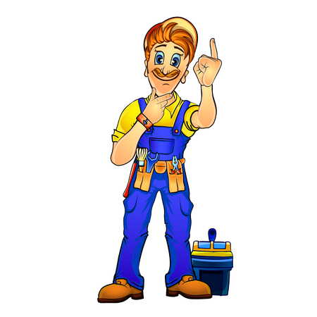 laboring: Vector illustration of a handyman holding his index finger up and thinking over new idea. Made in comic cartoon style.