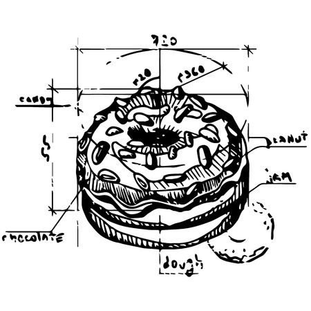 donut style: Vector scheme of a donut construction. Contour illustration in retro style. Illustration