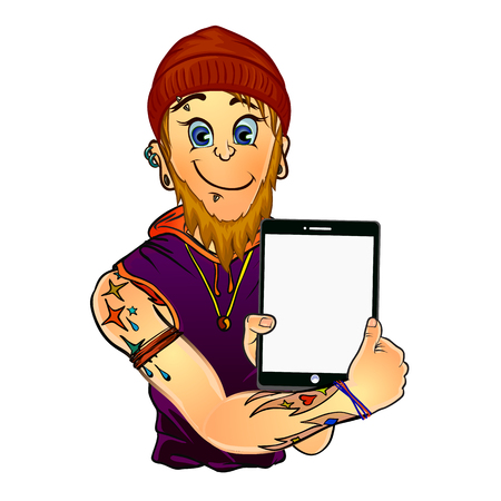 piercing: Vector illustration of a bearded male tattoo master with piercing on his face holding a tablet in his hands. Made in comic cartoon style.