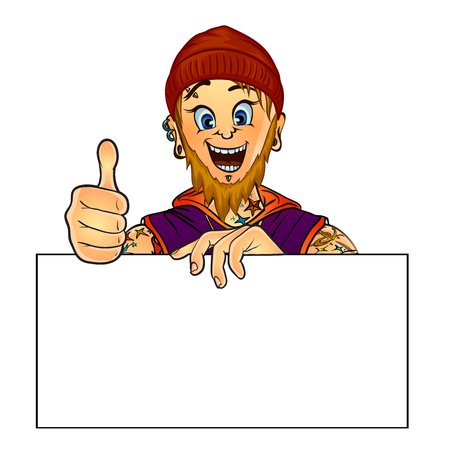masters of rock: Vector illustration of a smiling bearded tattoo master holding blank poster in his hand and showing thumbs up. Made in comic cartoon style. Mock up for your text. Illustration