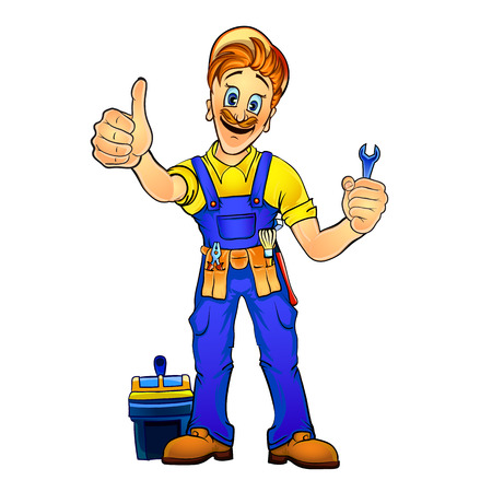 work worker: Vector illustration of a handyman holding a spanner in his hand and showing thumbs up. Made in comic cartoon style. Illustration