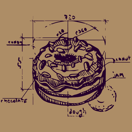 donut style: Vector scheme of a donut construction. Contour illustration in retro style. Old paper imitation. Illustration