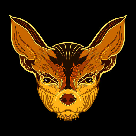 chihuahua: Linear vector illustration of a Chihuahua dog in tribal ethnic style.Contour drawing. Illustration