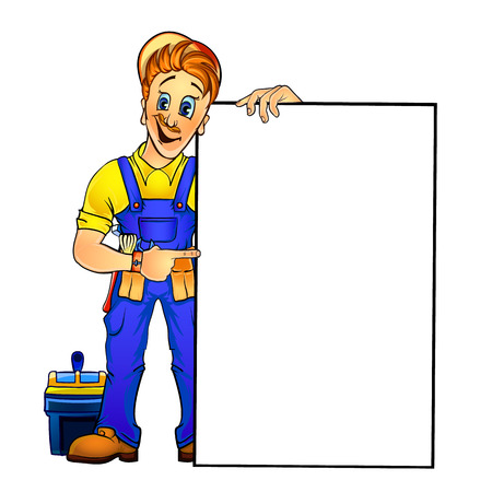 Vector illustration of a handyman pointing at the blank banner that he is holding in his hand. Mock up for your text. Made in comic cartoon style.