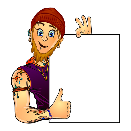 masters of rock: Vector illustration of a bearded male tattoo master holding blank poster in his hand and showing thumbs up. Made in comic cartoon style. Mock up for your text.
