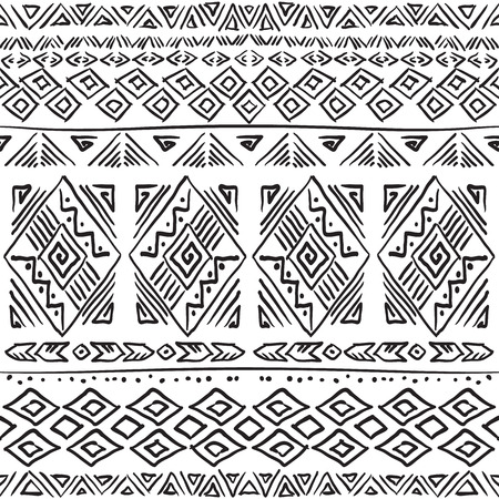 ethic: Hand drawn boho chic seamless pattern with tribal aztec elements. Ethic background for textile, phone cover, wrap, gift cards etc. Black and white.