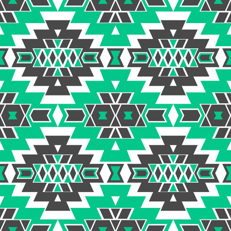 folklore: Seamless boho chic pattern with aztec ornament. Abstract vector wallpaper in mexican folklore style.
