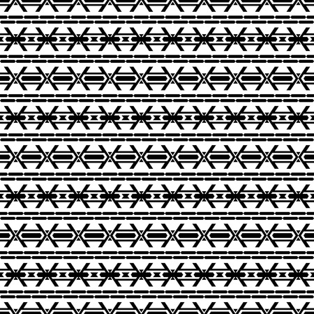 folklore: Seamless pattern in boho chic style. Abstract wallpaper with aztec folklore elements. Black and white.