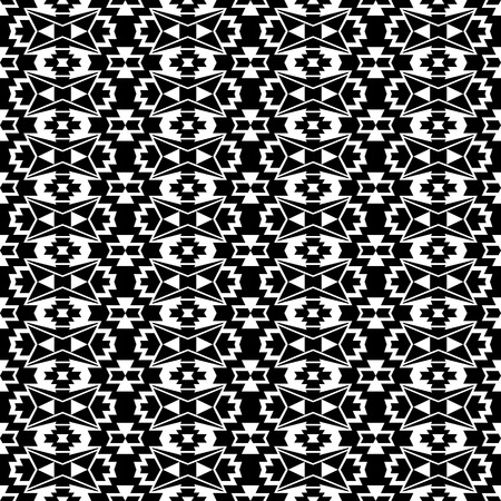 Seamless Boho Style Pattern With Ethnic Aztec Ornament Black And White Tribal Wallpaper Stock