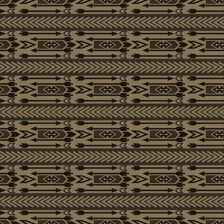 folklore: Seamless boho chic pattern with ethnic aztec ornament in brown shades. Abstract vector wallpaper in folklore style. Illustration