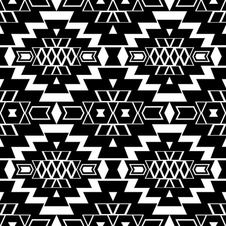 folklore: Seamless boho chic pattern with ethnic aztec motives. Abstract vector wallpaper in folklore style. Black and white.