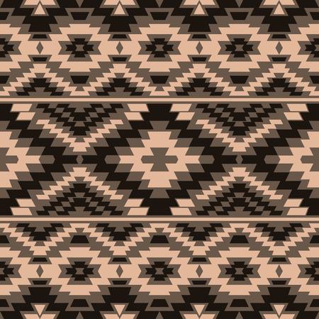 arte africano: patrón de estilo boho sin fisuras con el ornamento azteca étnica. Papel pintado tribal en tonos marrones. Vectores