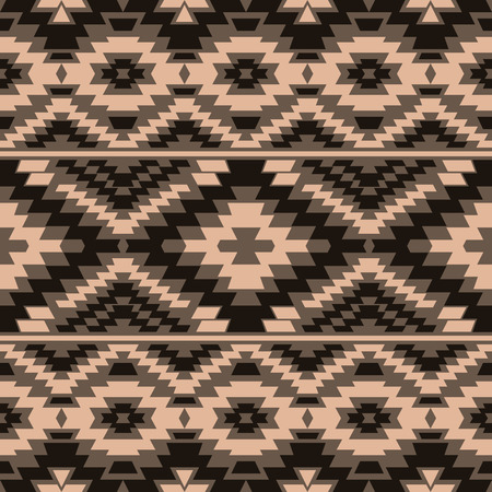 folk art: Seamless boho style pattern with ethnic aztec ornament. Tribal wallpaper in brown shades. Illustration