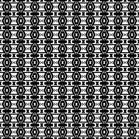 folklore: Abstract background with aztec folklore ornament. Seamless boho pattern. Black and white.