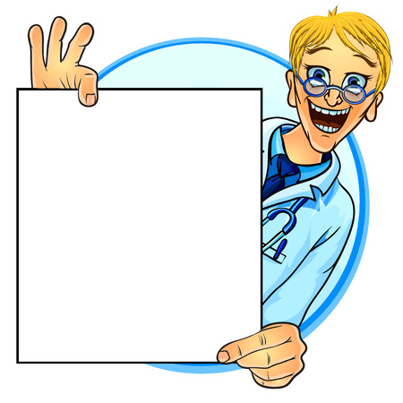 Vector illustration of a smiling doctor holding blank poster in his hands. Mock up for your text. Comic cartoon style. 向量圖像