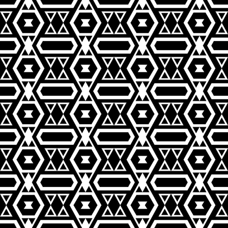 folklore: Boho style seamless pattern with tribal aztec ornament. Abstract folklore background. Black and white.