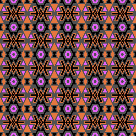 folklore: Seamless pattern in boho chic style with tribal aztec elements.Colored folklore wallpaper.