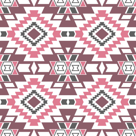 folklore: Seamless boho chic pattern with aztec ornament in soft pastel colors. Abstract vector wallpaper in mexican folklore style.