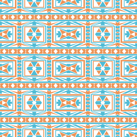 folklore: Seamless boho chic pattern with tribal aztec motives. Abstract vector wallpaper in folklore style. Illustration
