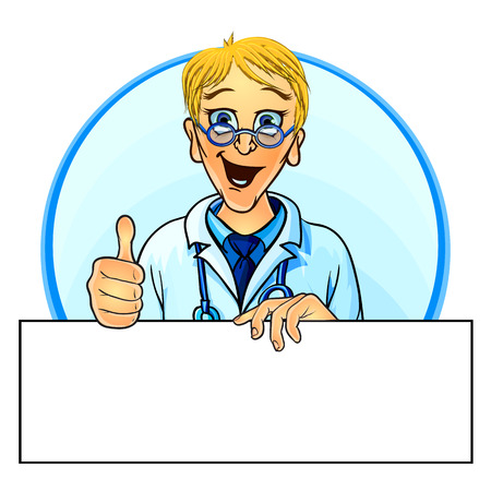 medical drawing: Vector illustration of a smiling doctor holding blank poster and showing thumbs up. Mock up for your text. Comic cartoon style.