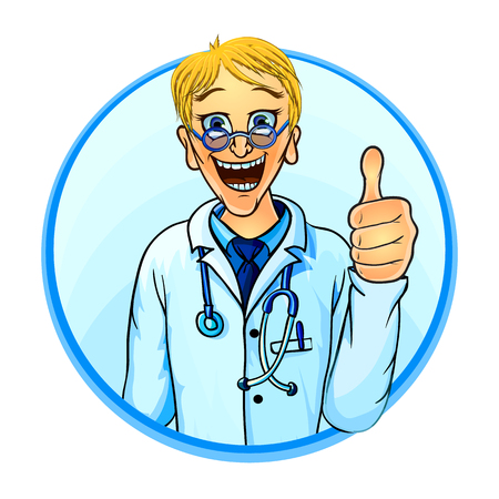 medical drawing: Vector illustration of a smiling doctor showing thumbs up. Comic cartoon style.