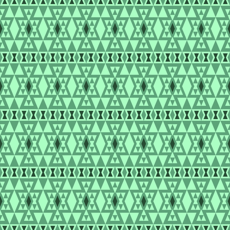 folklore: Seamless boho pattern with tribal aztec elements. Abstract folklore wallpaper in green shades.