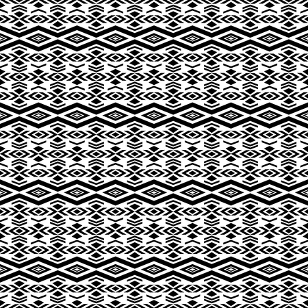 folklore: Seamless pattern in boho style with tribal aztec elements. Folklore abstract background. Black and white.
