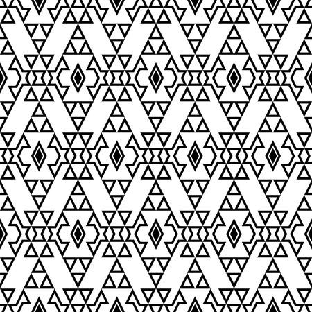 Modèle boho chic sans couture avec ornement aztèque tribal. Papier peint ethnique moderne. Noir et blanc.