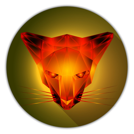 amber: Symmetrical vector illustration of a cat. Made in low poly triangular style. Amber gemstone imitation.