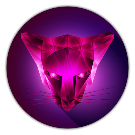 topaz: Symmetrical vector illustration of a cat. Made in low poly triangular style. Pink topaz gemstone imitation. Illustration