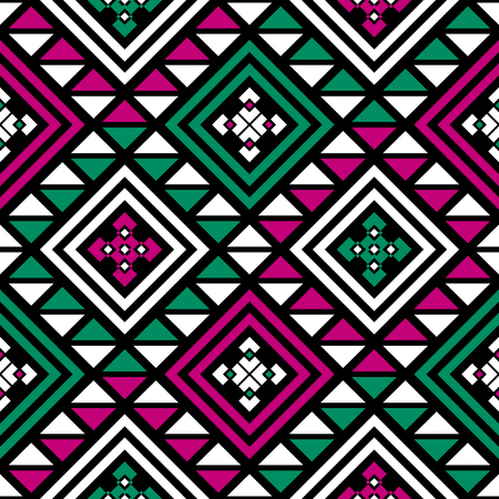 folklore: Boho seamless pattern with tribal aztec ornament. Abstract vector wallpaper in modern folklore style. Black background.