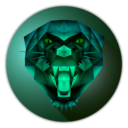 Symmetrical vector icon of a panther. Made in low poly triangular style. Emerald gemstone imitation.